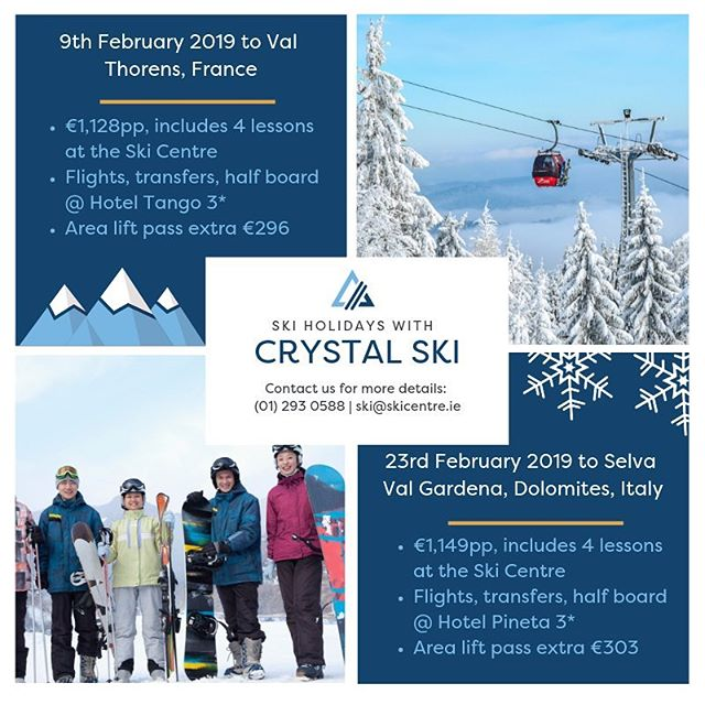 Two great deals from @crystalholidays with 4 ski lessons to get you ready for the slopes 🎿⛷🏂 Contact our team in the centre for more information.⠀ ⠀ •••⠀ ⠀ #ski #winter #winterwonderland #powder #valthorens #dolomites #getmorewinter #thesnowclub #letsgoskiing #skiday #slopelife #thealps #whiteout #mountains #freestyle #adventure #letitsnow #snowboarding ⠀