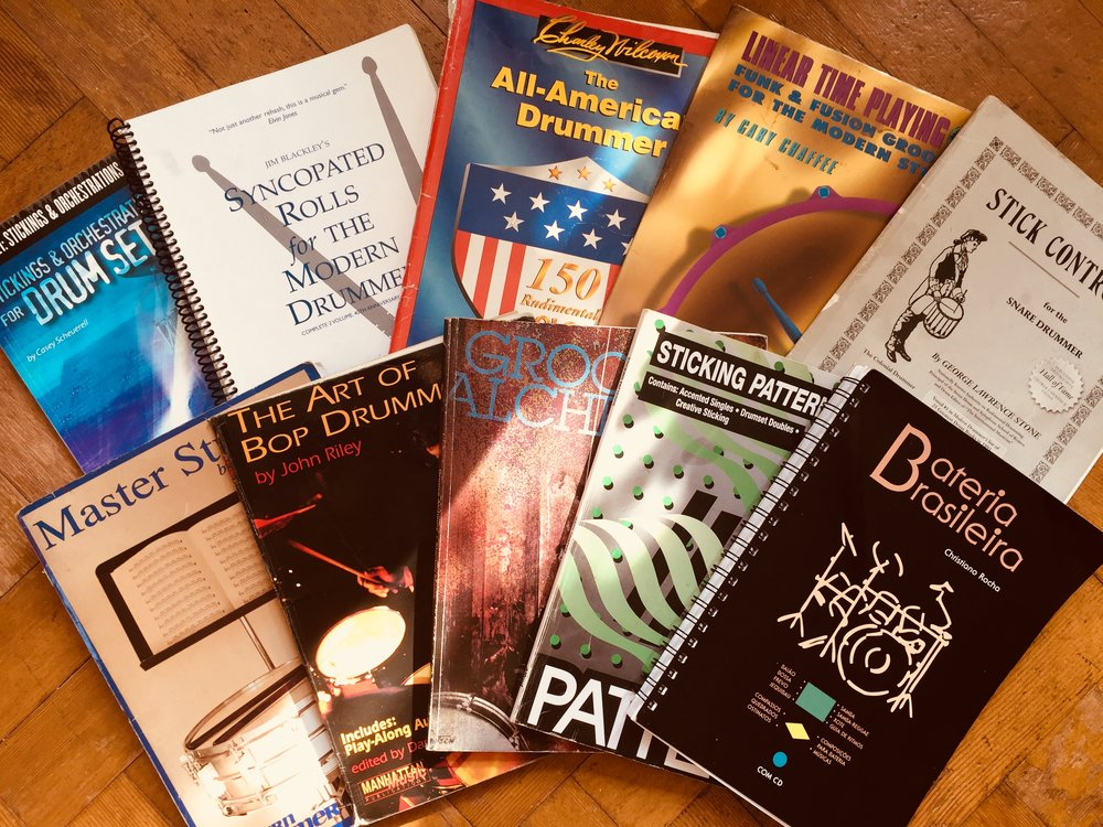 I have a vast library of Drum books, here are Just a few that I swear by.