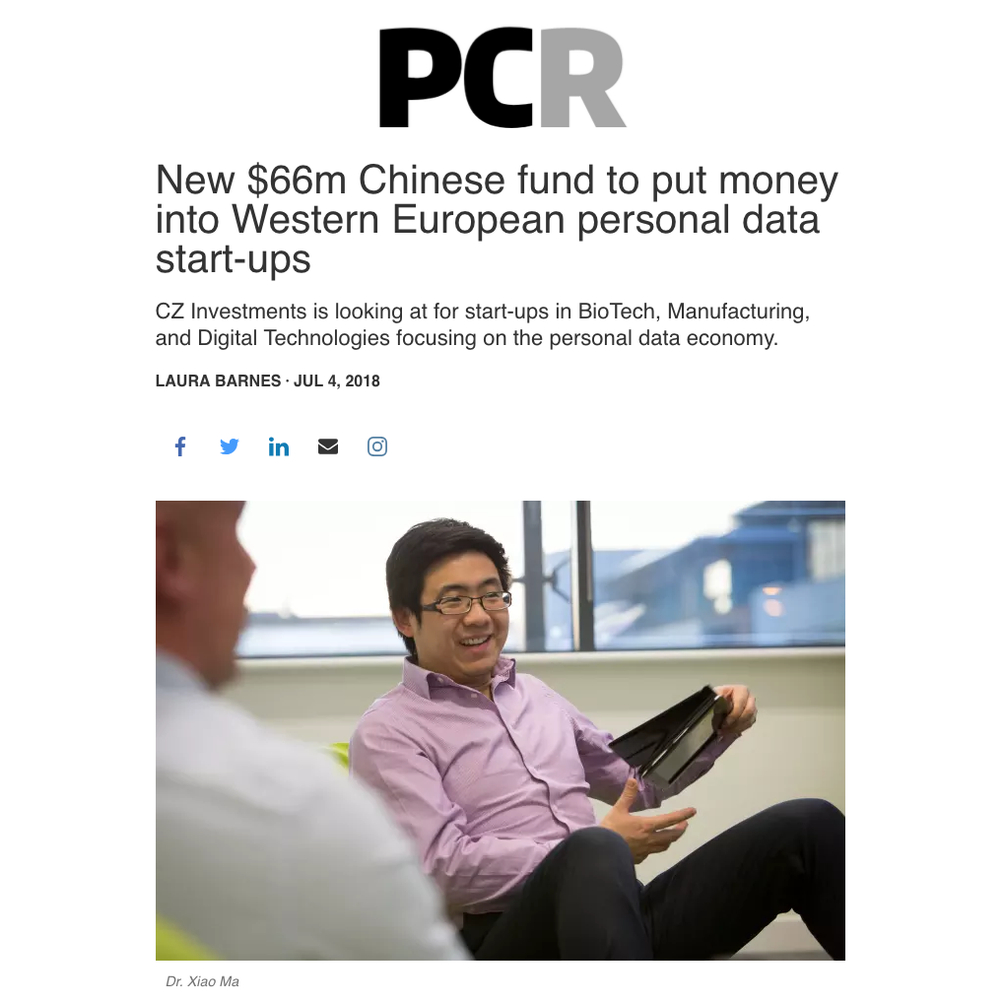 PCR reports on $66m Chinese fund investment into scale-ups integrating with HATs - 4 July 2018