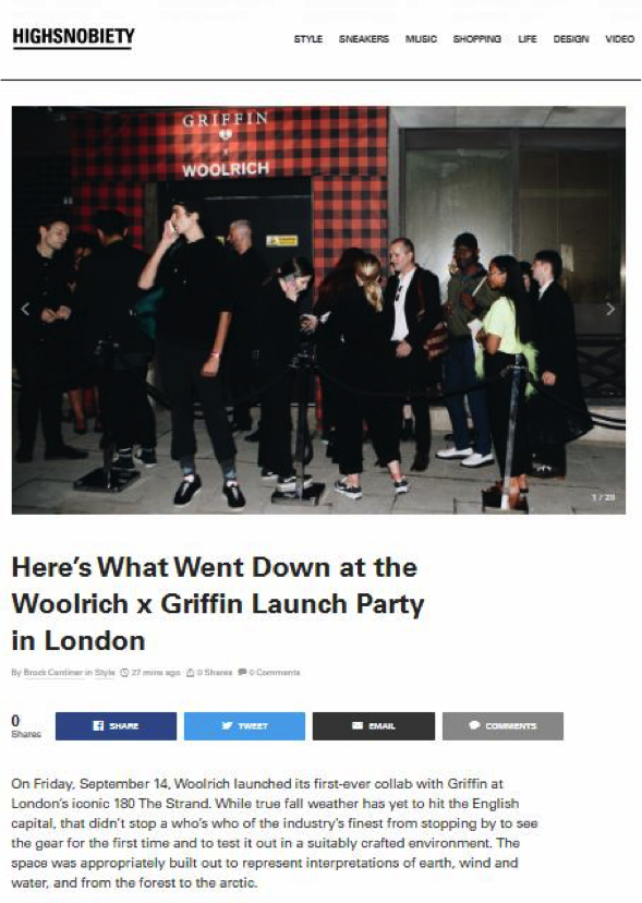 GRIFFIN X WOOLRICH LFW AW18 LAUNCH |  HIGH SNOBIETY
