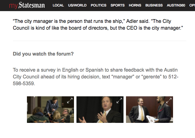 Austin Statesmen article encouraging the public to take the SMS survey (available in both English and Spanish)