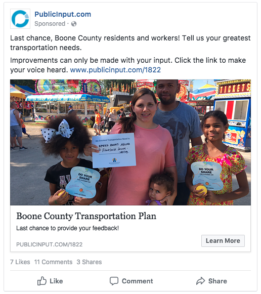 An example of a targeted Facebook post created through the PublicInput.com platform. You can use your agency Facebook page in lieu of the PublicInput.com branding if desired.