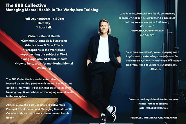 "Our Managing Mental Health In the Workplace Course is running 21st July! This course is for those in work looking to better understand mental health issues and how to spot & support them in the workplace  1 Day Course Saturday 10:30 - 4:30pm  What is Mental Health Common Diagnosis & Symptoms Medications and Side effects Perceptions in the workplace How to approach the subject in work Language around mental health How to help - tools for monitoring mental wellbeing  Fee: £60 - ticket link in bio  The fee for these courses goes directly towards delivering free courses for people with mental health issues that are in reciept of benefits and are looking to get back into work.  Testimonials: ""Jana opened my eyes and brain to the value of understanding mental health for my company"". - Russell ""I would highly recommend this course for anybody who wants to expand their knowledge and gain useful tips to help your team"" - Nicola ""A really enjoyable day. Jana's passion shines through and she has a real knack of explaining things clearly"" - Kate ""Jana's presentation was relaxed, engaging and insightful. She brought energy and enthusiasm to an important topic which every business needs to learn"". - Michael.  #mentalhealth #education #course #workplace #training"