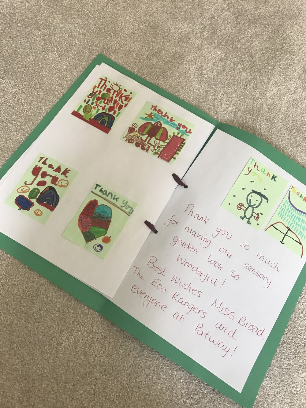 Lovely to receive this today a thankyou booklet from all the children at Portway Infant school Allestree. ADH volunteered to build a sensory garden path with all the children's painted pebbles. The builders were well looked after with a cuppa!