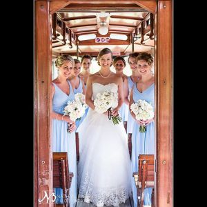 Jourdan and her bridesmaids on the shuttle at the 1927 Lake Lure Inn near Chimney Rock in NC