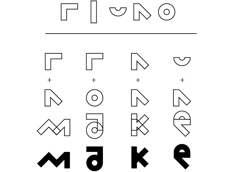 """Custom Type - Summer camps at the Bakken Museum provide a space for kids to play with materials and learn through making. I took the same approach to design a T-shirt featuring their mantra """"Think it. Make it. Improve it. Show it.""""Inspired by the typography on Japanese packaging, I nestled custom letterforms in a field of non-letterform shapes to create an all-over design meant to encourage exploration and discovery."""