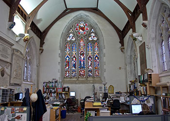 The interior of Albion Archaeology's offices at St. Mary's Church in Bedford