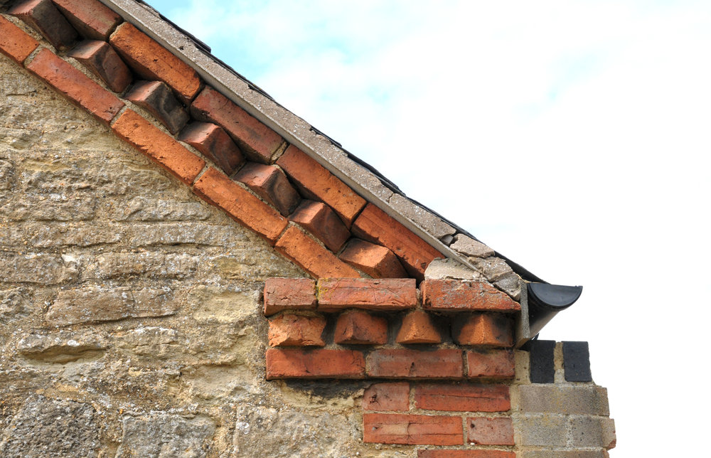 Albion Archaeology project. Dogtooth brickwork on roof gable, Carlton, July 2015