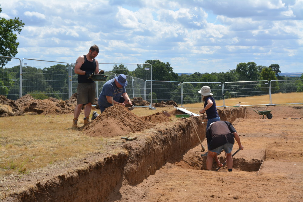 Excavations by volunteers in the park itself, looking for evidence of Saxon settlement.