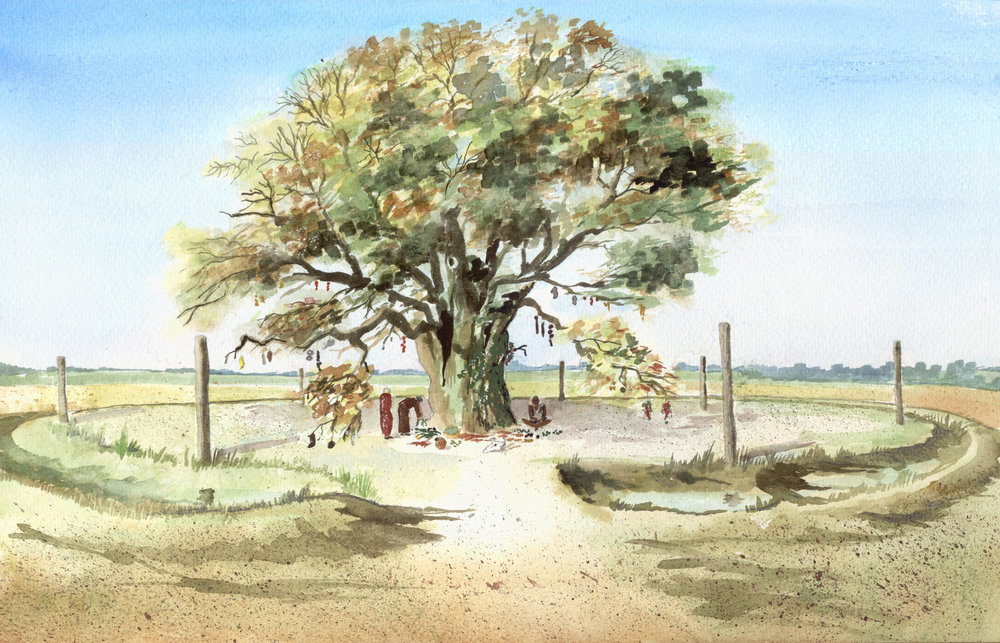 Reconstruction of henge with sacred oak tree.