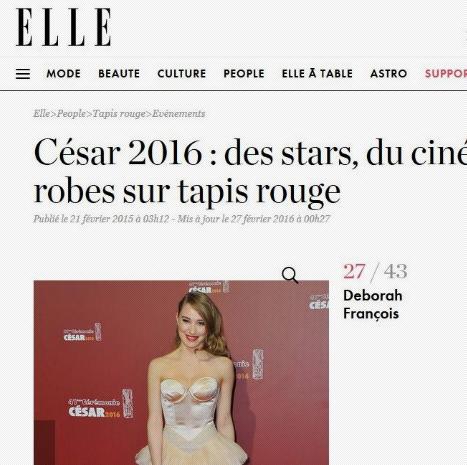 ELLE - Best dressed list - DÉBORAH FRANÇOIS César 2016 DÉBORAH FRANÇOIS