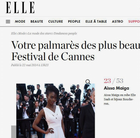 ELLE - Best dressed list - AISSA MAIGA Festival de Cannes 2014