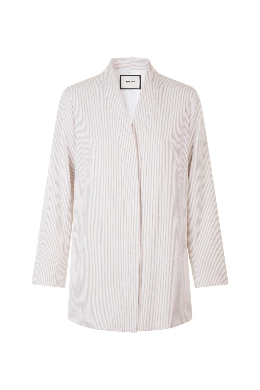 Veste longue col châle en coton et laine