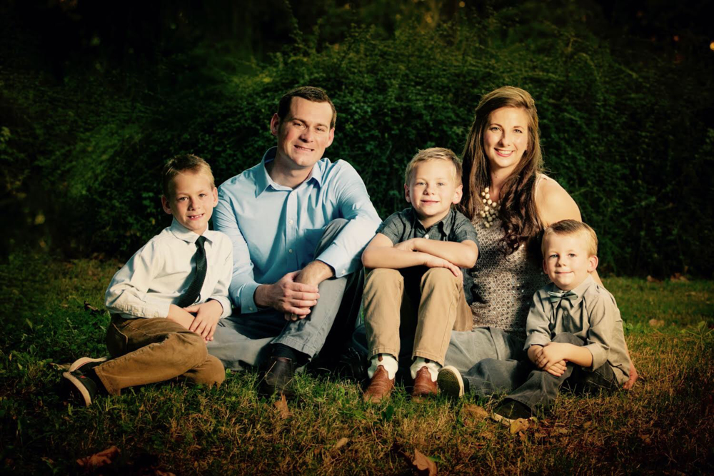 Chelsea with her husband, Tucker, and their three boys.