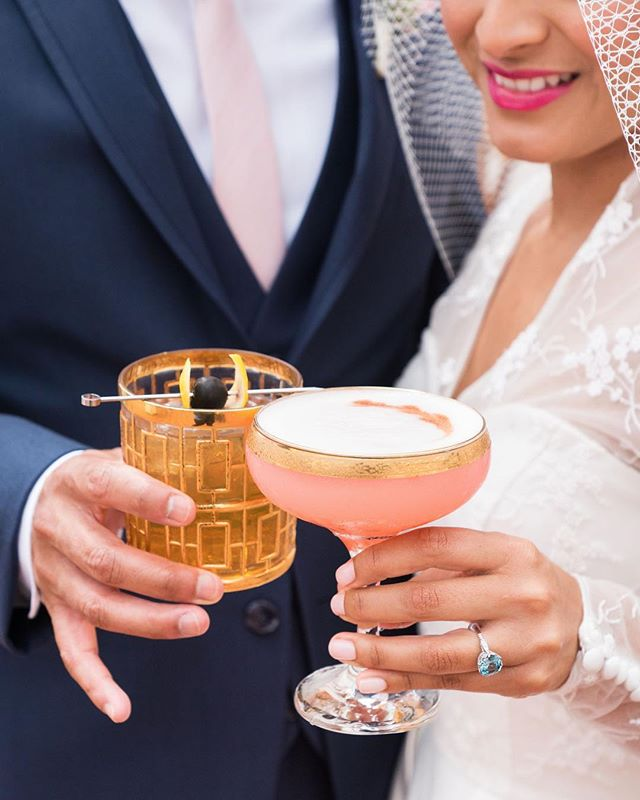Signature drinks done right!  Pinky up!  Styling and Planning: @dorothy_rose_events  Photography:  @peterson.design.photo  His suit: @stitchandtie  Her dress: @dollycouturexo  Veil: @julieharrisdesigns  Hair and Makeup: @nixeyartistry  The Ring: @brilliantearth  Glassware: @sundrop_vintage  Drinks: @la.speakeasy  #signaturedrink #oldfashioned #champagne #styledshoot #weddingplanning #weddingplanner #losangelesweddingplanner #orangecountywedding #ocweddingplanner #laweddingplanner