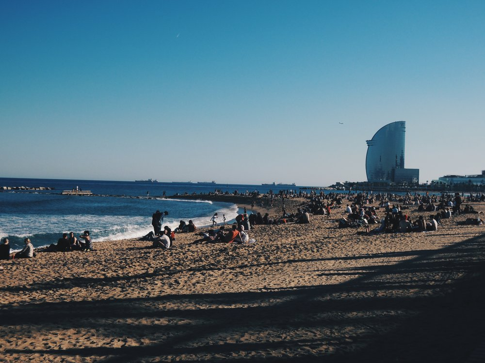 Barcelona's beachfront views at  Barceloneta