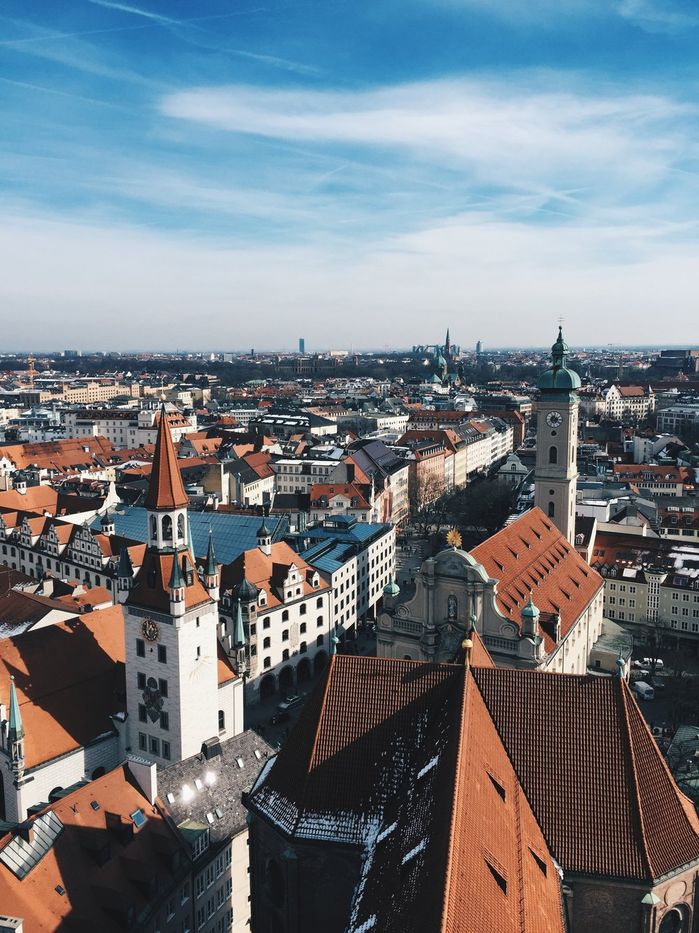 The skyline of Munich's old city ( Altstadt ) from the church of  Frauenkirche