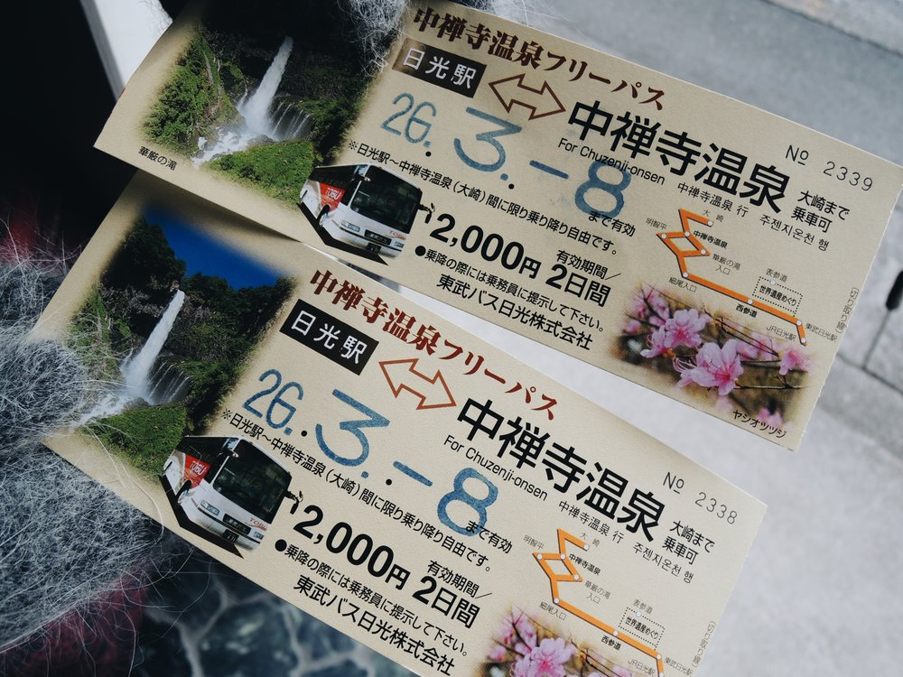 Tickets for the Tobu Bus
