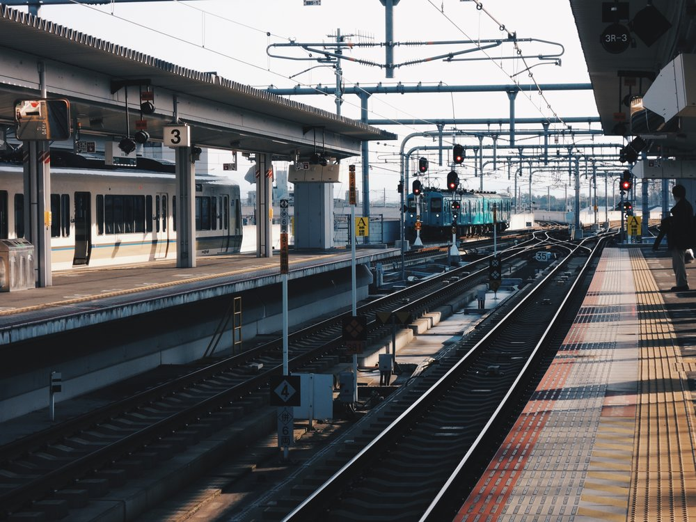 Trains pulling into Nara's railway station