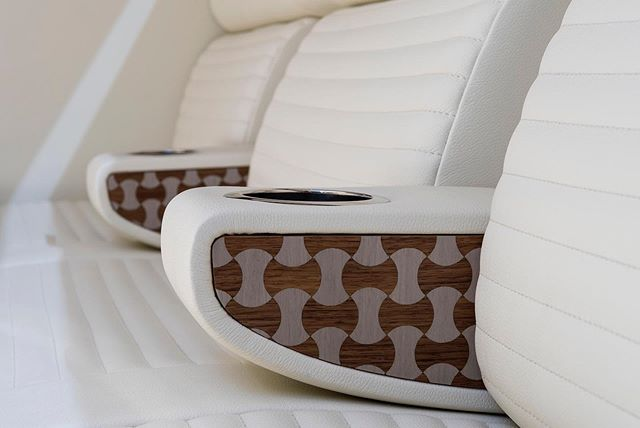 The 8m Limousine cabin has been fitted with soft Foglizzo leather seating to compliment the gorgeous armrest detail. #limousine #tender #foglizzo #seating #comfort #leather #cabin #superyacht #tender