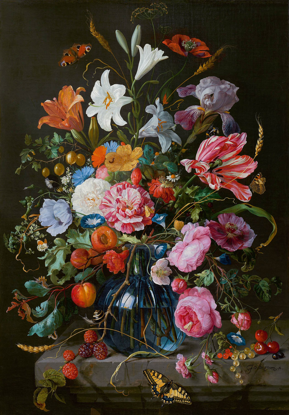 Still life with flowers in a glass vase, Jan Davidsz. de Heem