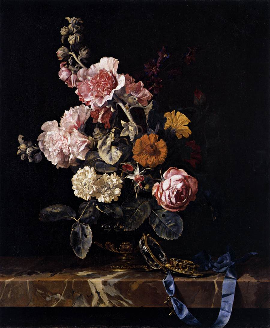 Still life with flowers and clock on the table, Willem van Aelst