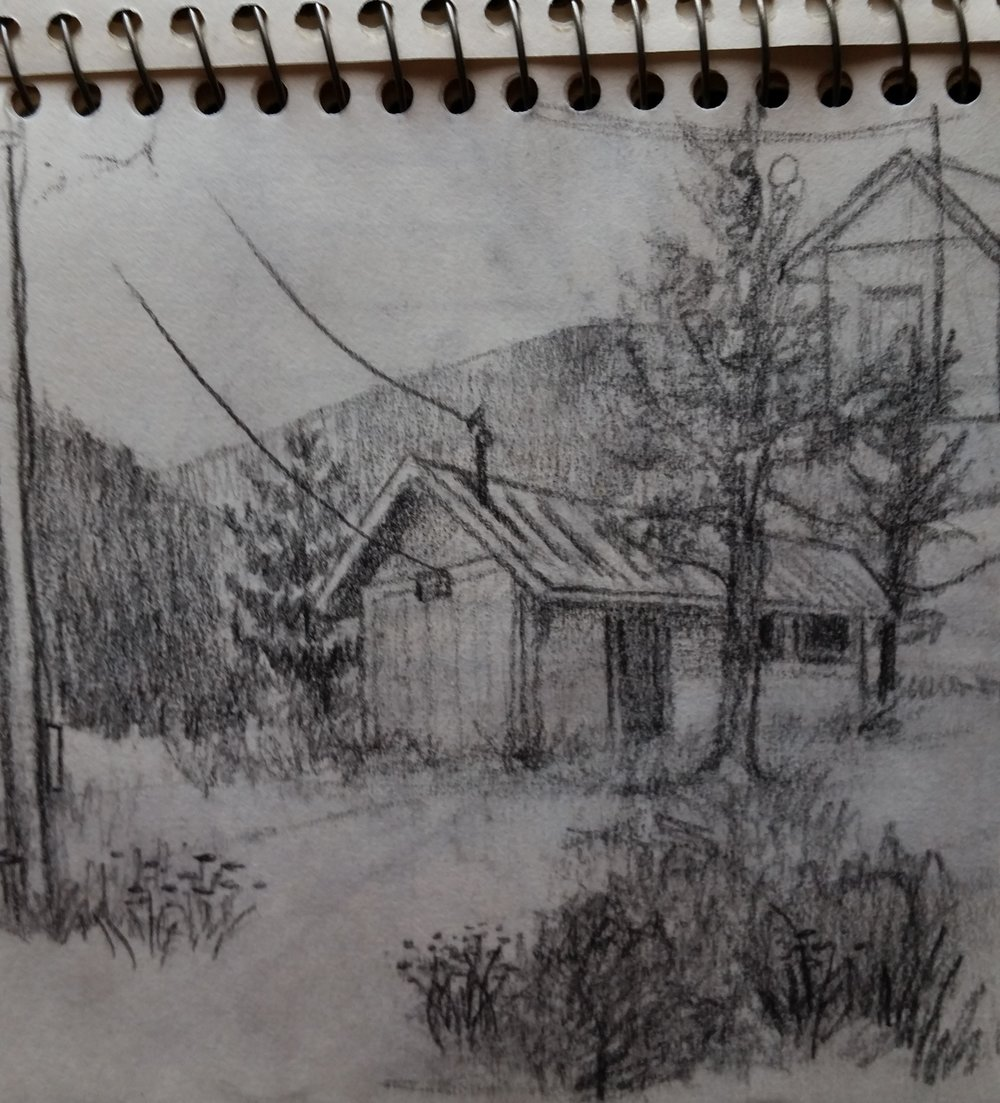 """Powderville""- from a sketchbook. Capturing a realistic subject as emotional content was of utmost significance."
