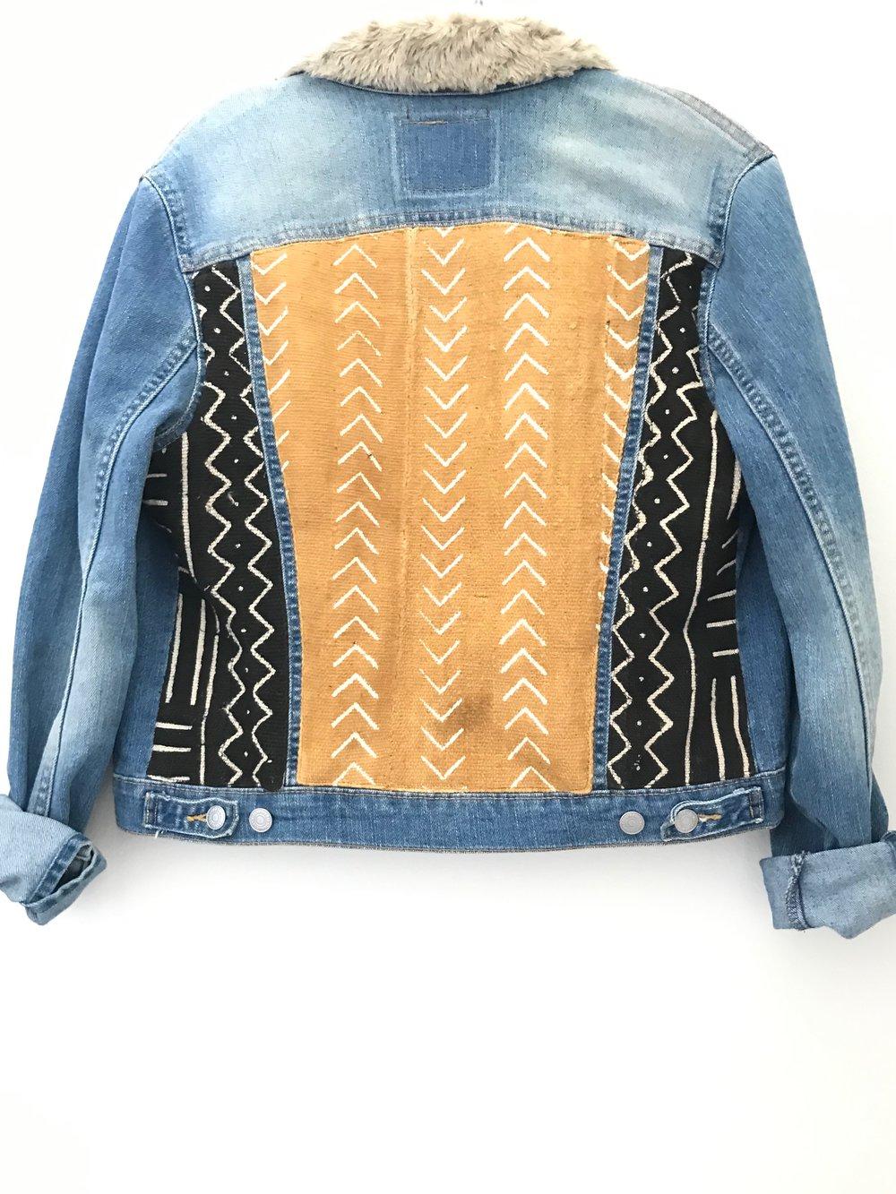 Black And Mustard Fur Collar Jean Jacket Annie Margot Designs