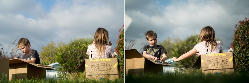 A documentary collage of photos of a boy and girl playing in boxes in Claremont, CA by Erica Faith Walker