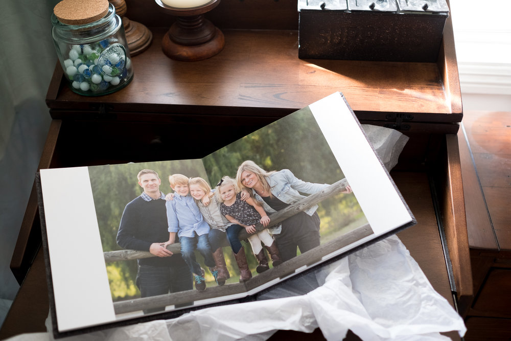 An heirloom linen album by Erica Faith Photography in Claremont, C