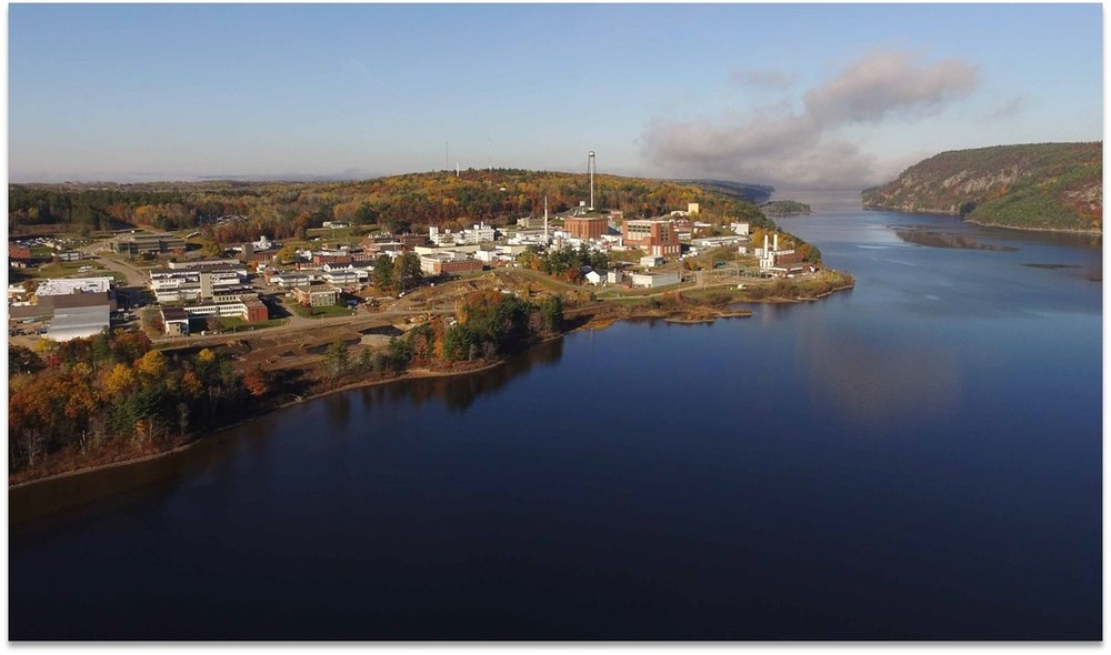 Aerial view of CNL main campus on the Ottawa River, Canada.
