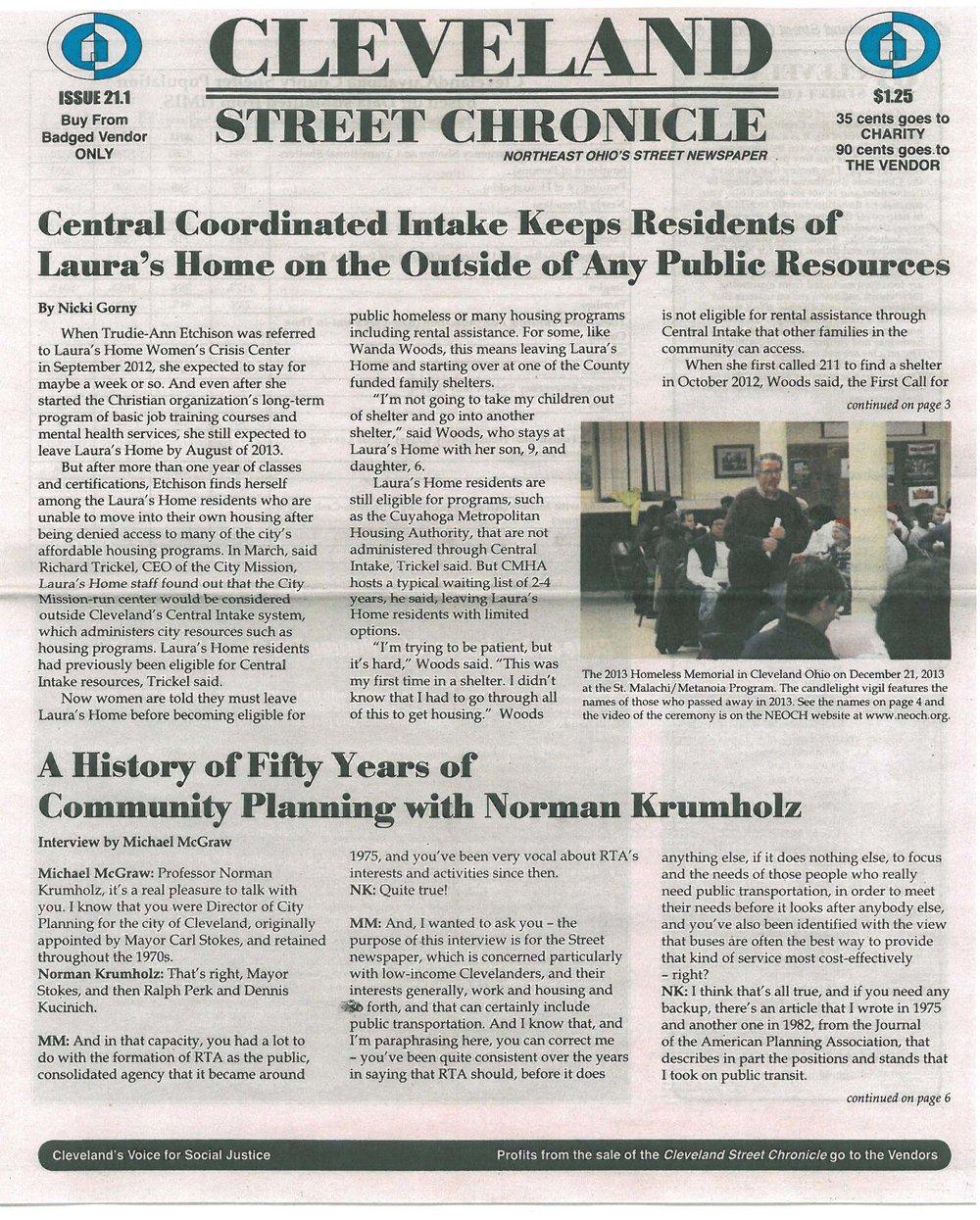 street newspaper — Cleveland Homeless Blog — Northeast Ohio
