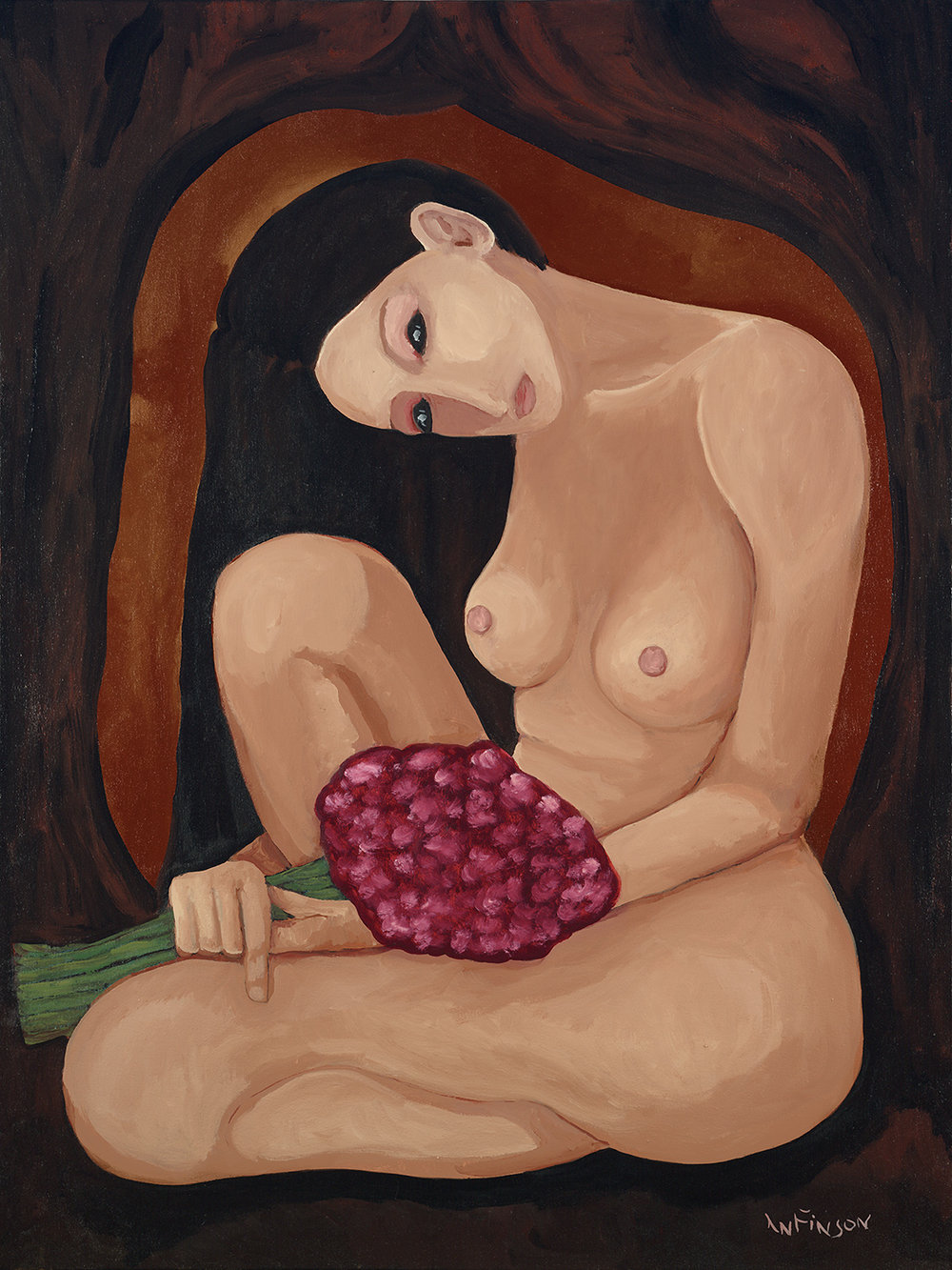 woman with bouquet  $3000.00  40 x 30 2010