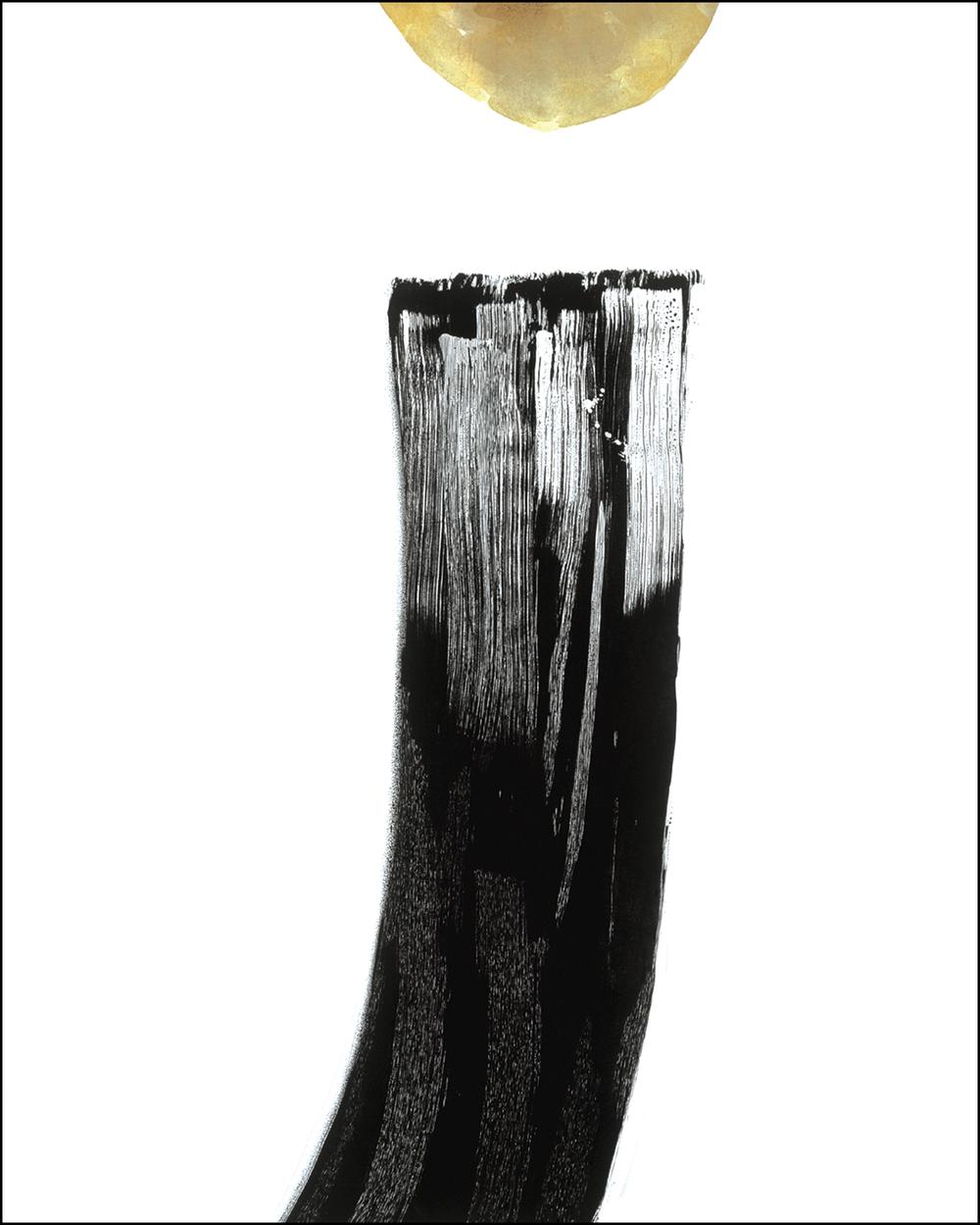 «Reaching» 180x140cm, 2003, Tusj/penn/pensel, voks og akryl på bomulls/polyesterstoff