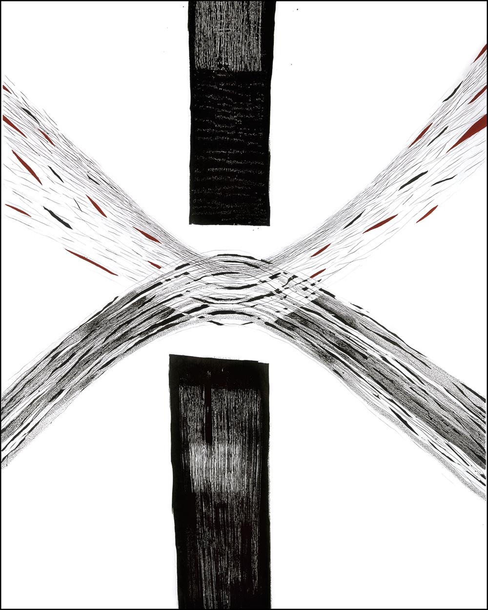 «Sharing» 180x140cm, 2003, Tusj/penn/pensel, voks og akryl på bomulls/polyesterstoff