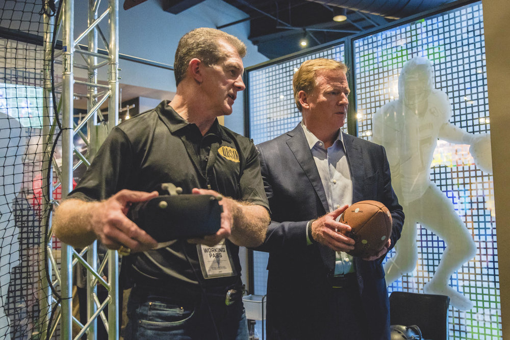 Sports VTS CEO Ted Sundquist with NFL Commissioner Roger Goodell.