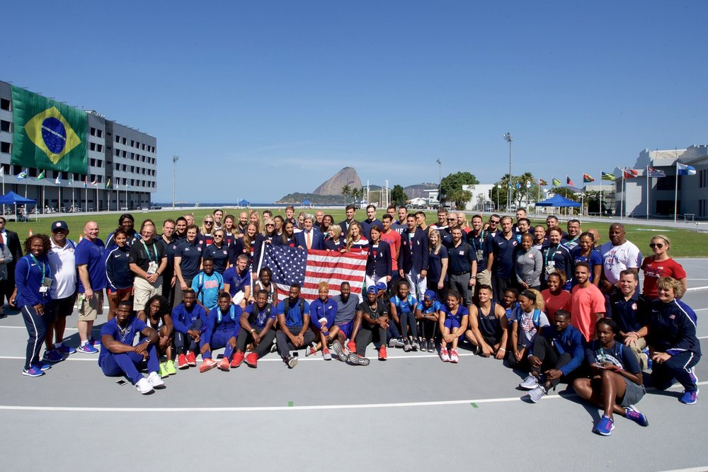 Members of the U.S. Summer Olympics Team and former Secretary of State John Kerry in Brazil.  2016.
