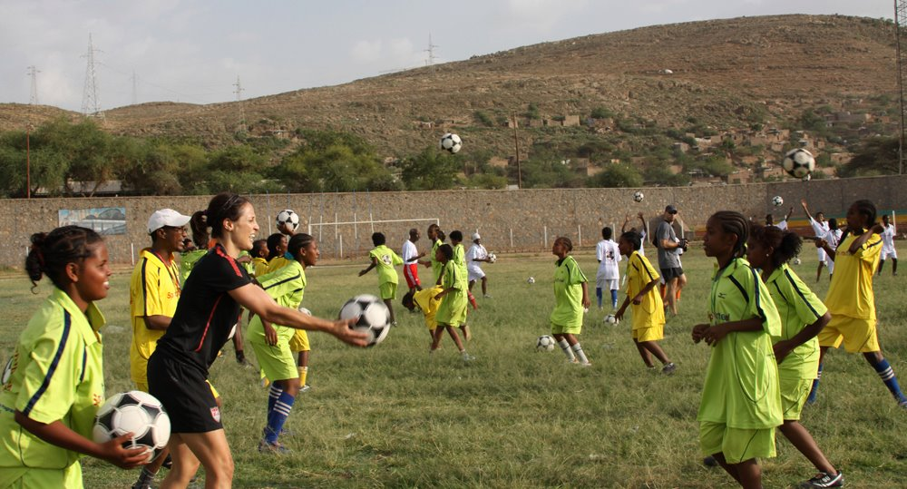 Sports Envoy and Former U.S. Women's National Team member Kate Markgraf leads drills in Ethiopia.  2012.