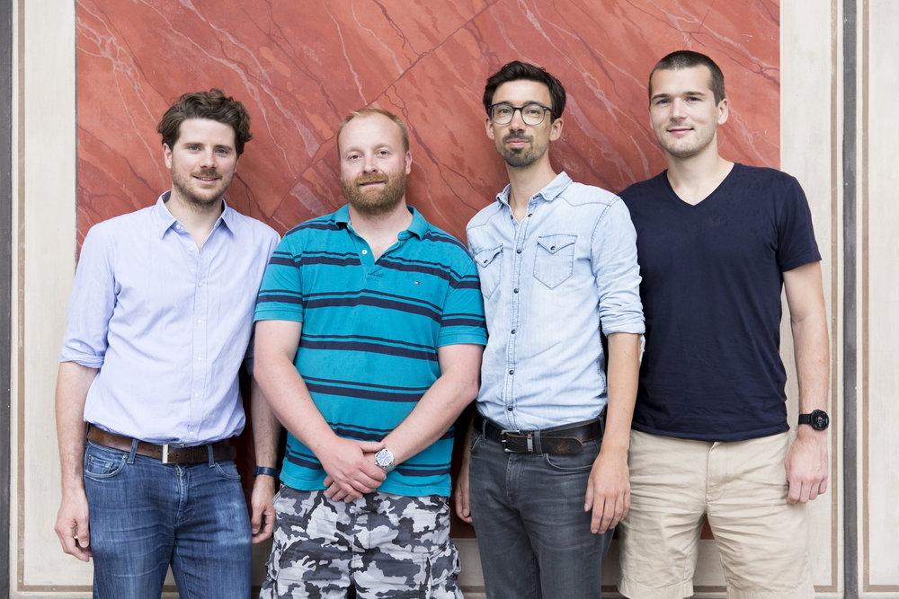Mimi Hearing Technologies founders:Dr. Nick Clark, Philipp Skribanowitz, Pascal Werner, Dr. Henrik Matthies (f.l.t.r.), photo: Jasper Kettner