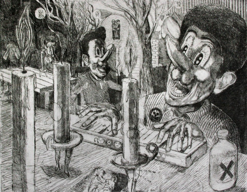 """Mr Dicky and the Candle Ladies"" 2012   Etching"