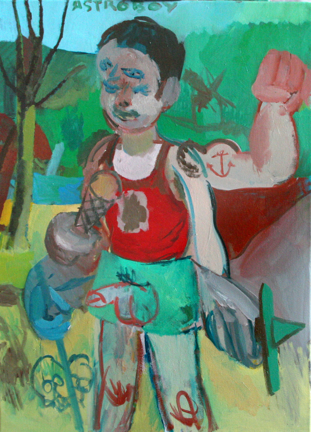 """Astro Boy"" 2012   Oil on canvas. 70 x 50 cm"