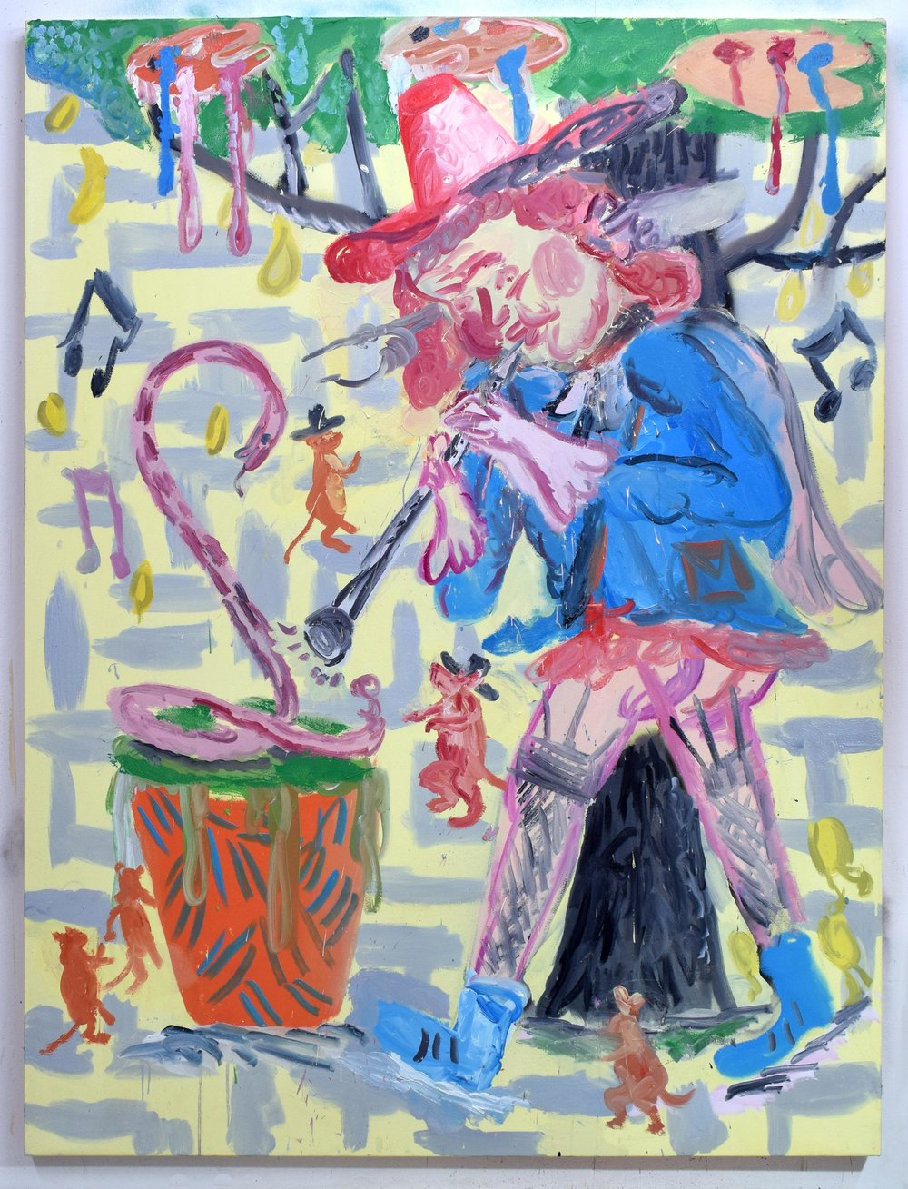 """Deaf Piper Mice Charmer"" 2018   Oil on canvas. 200 x 150 cm"