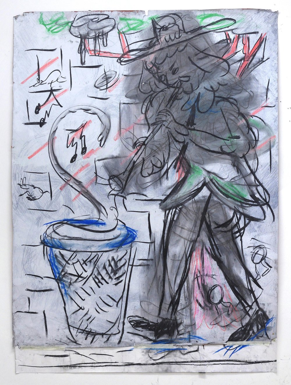 'Deaf piper pied charmer' 2018     Charcoal and pastel on primed paper. 200 x 150 cm