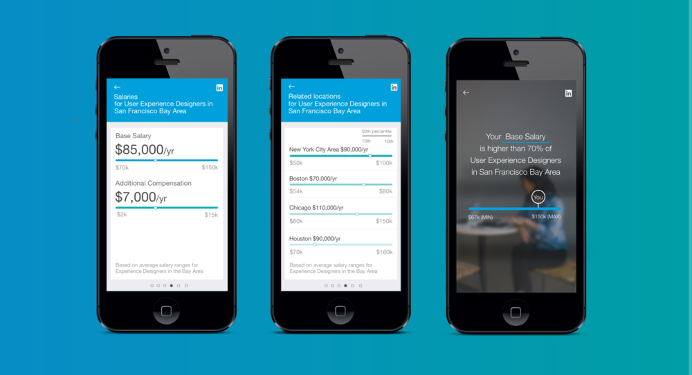 Mobile UI for the LinkedIn Salary insights tool.