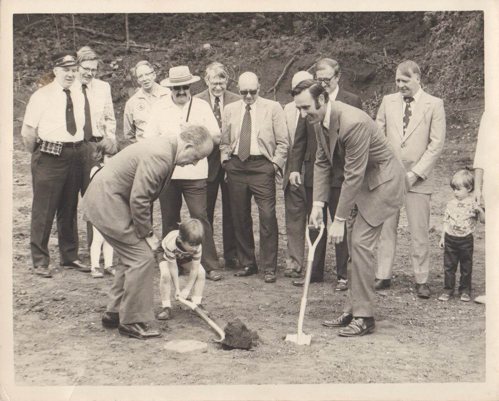 Ground breaking of BSM site as overseen by Dick Lloyd (first on the left). Image Credit: BSM Archives