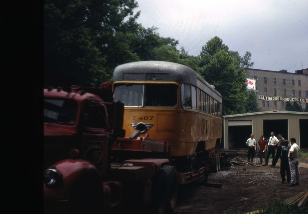 BSM-BTC 7407, unloading on ramp at Baltimore Streetcar Museum, June 1968 Image Credit: John Thomsen, MRHL Collection