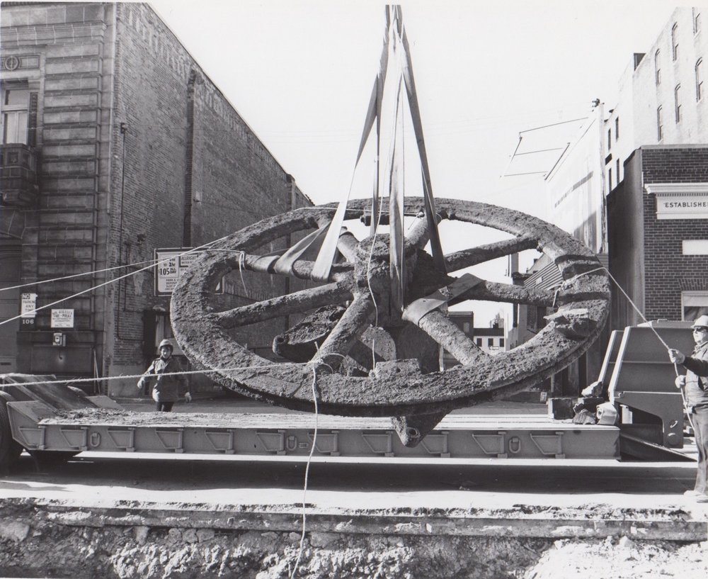 Image Credit: Ralph J Kueppers, Cable Wheel removed from under the streets of Baltimore, 1975