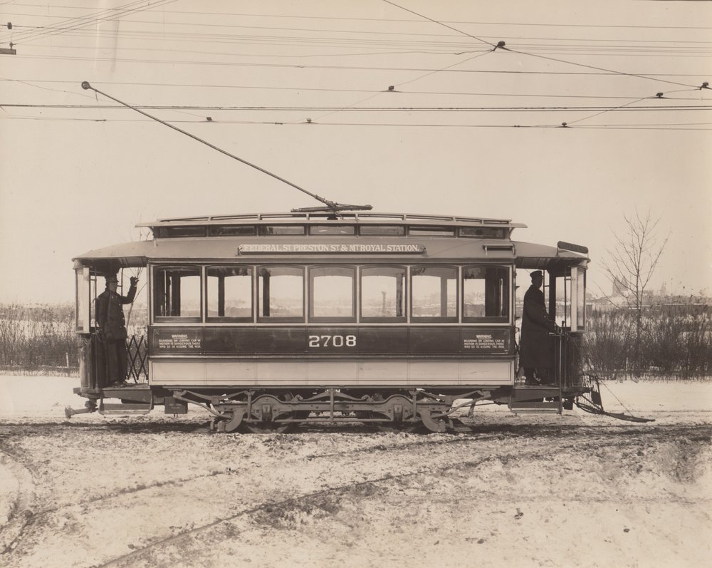 Image Credit: BSM Archive, 27 line, pre trackless trolleys, Mt Royal Overpass