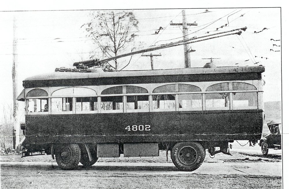 Car 4802, Ca. 1922 Image Credit: Maryland Rail Heritage Library  Marking Baltimore's first foray into trackless trolley operation (electric vehicles running via twin trolley poles and overhead current but using rubber tired instead of steel wheels and rails), No. 4802 was one of three such vehicles built by Brill for the United. No. 4802 and her sisters were to see service on only one route, on Liberty Road from Gywnn Oak Junction to Randallstown, starting in 1922. Real estate developers had hoped for a streetcar line to serve this growing suburb, but the United felt the expense not justified due to light ridership. Service by trackless trolley was the compromise. After ten years of operation, these vehicles, which seated 22 passengers, were supplanted by buses in July 1932, marking the first time internal combustion engines had replaced electricity as a means of power on the Baltimore system.