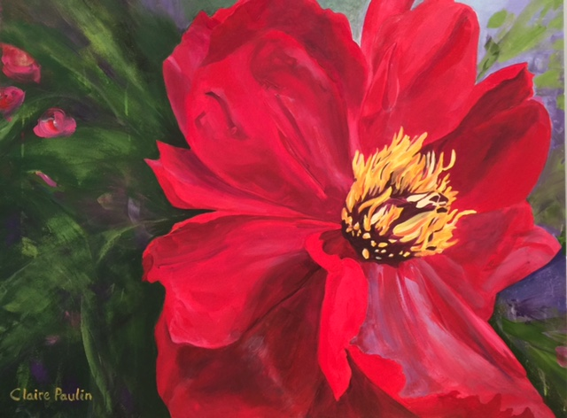 PEONIES SERIES #5   ACRYLIC ON CANVAS  36″ X 48″